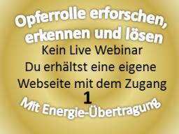 Webinar: 1. Heiler: Auflösung der Opferrolle Energiearbeit Meditation