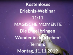 Webinar: 11:11 Magische Momente - Die Engel bringen Wunder in dein Leben!