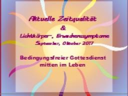 Webinar: Zeitqualität September & Oktober 2017 - Bedingungsfreier Gottesdienst mitten im Leben